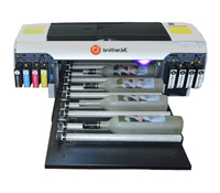 BrotherJet direct to print beer & wine bottle, cylindrical printer